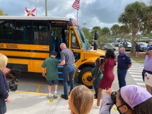 Jupiter High School Bus Donation, image courtesy of Waterfront Way Foundation 2