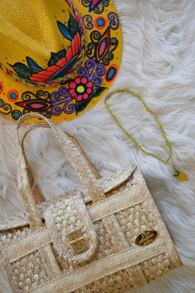 The Weekender Straw Bag Mini and Carmen Hand-painted Hat in Yellow Flowers