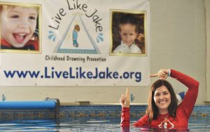 Jake's mother and founder of Live Like Jake, Keri Morrison in the new ISR indoor pool. Photo by Jeffrey Langlois