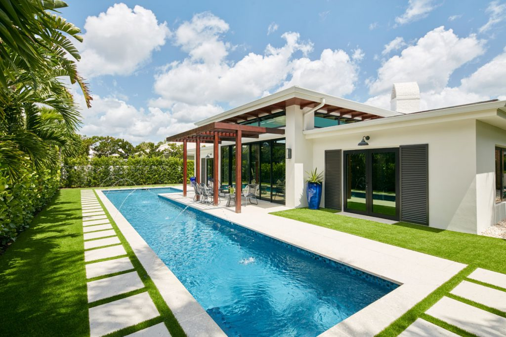 The brand new lap pool, with outdoor patio and pergola.