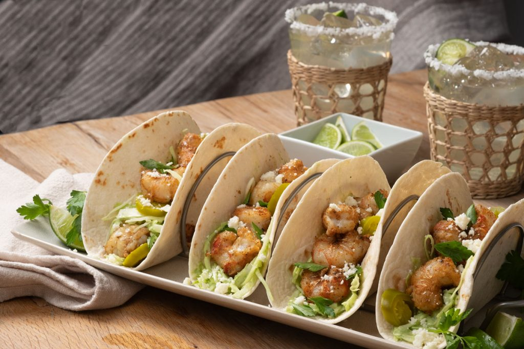 Lauren's rock shrimp tacos  are a family favorite.