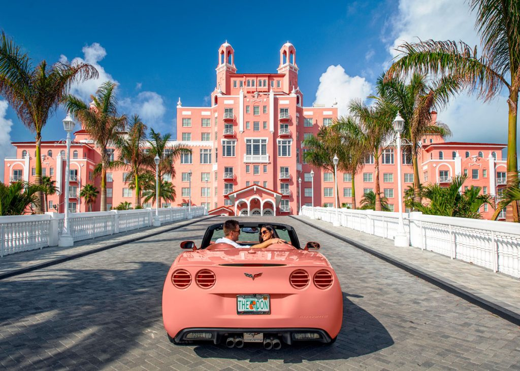 Cruise into The Don CeSar via its newly restored palm-lined entrance. Courtesy of The Don CeSar