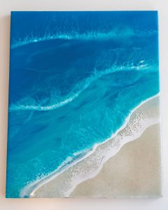 The artist created this wave painting using sand she collected from Hilton Head Island, South Carolina, Photography by Stay Gold Photo