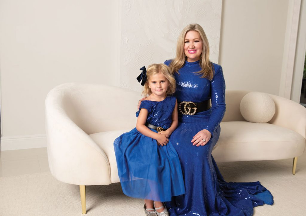 Alexandra and Emily in Gucci couture; shot at their home in Palm Beach Gardens. Photo by Tracey Benson