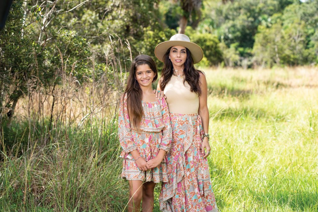Jemma and Jessica in ensembles from Sea Lustre; shot in Riverbend Park in Jupiter. Photo by Tracey Benson